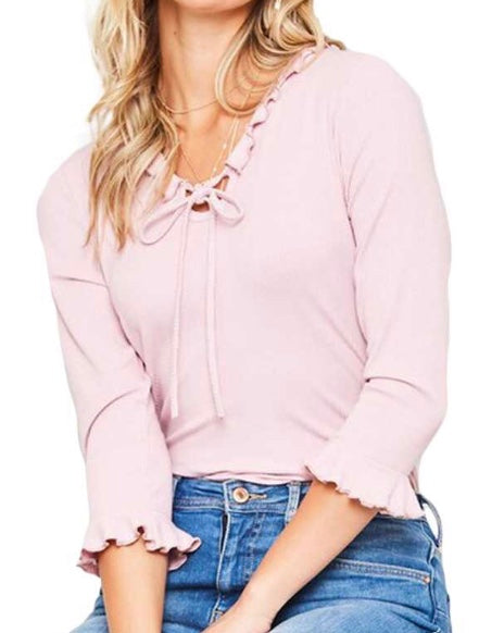 Pink ruffle trim tie neck ribbed top