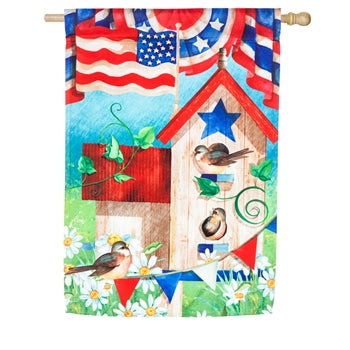 Patriotic Birdhouse House Satin Flag