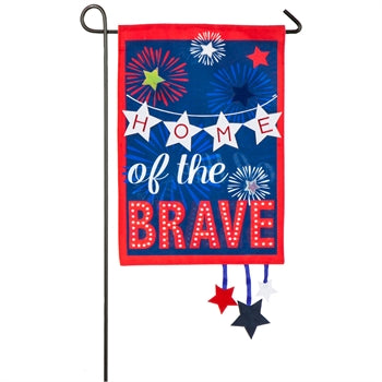 Home of the Brave Garden Linen Flag
