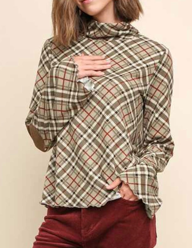 Latte green mix plaid mock neck top