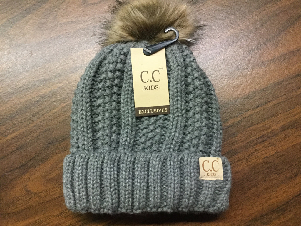 Kids Light grey natural Pom CC beanie