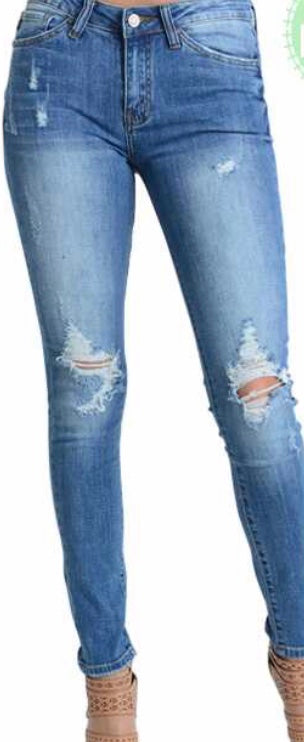 Denim low rise distressed skinny jeans PLUS