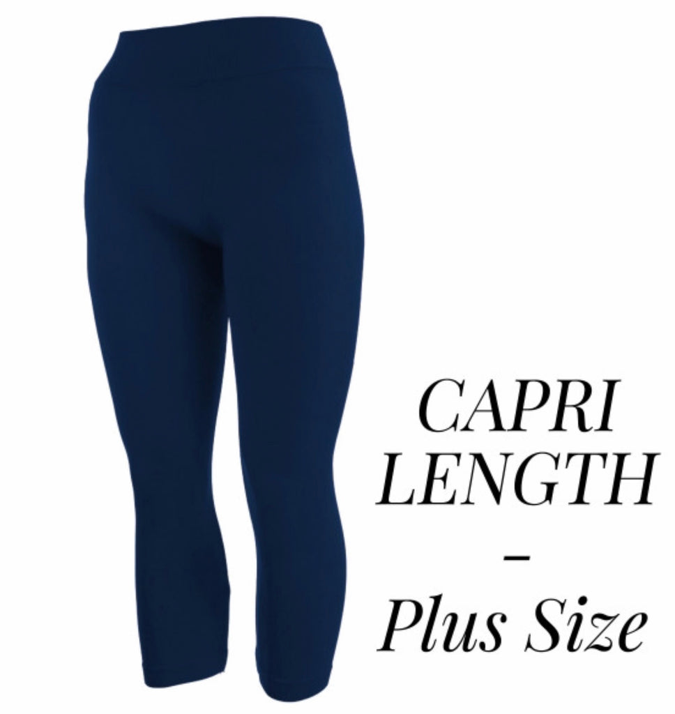 Navy stretch Capri leggings PLUS