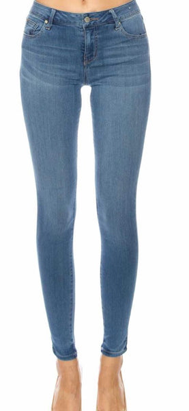 Blue mid rise semi skinny stretchy jeans