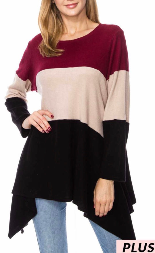 Burgundy color block asymmetrical top PLUS