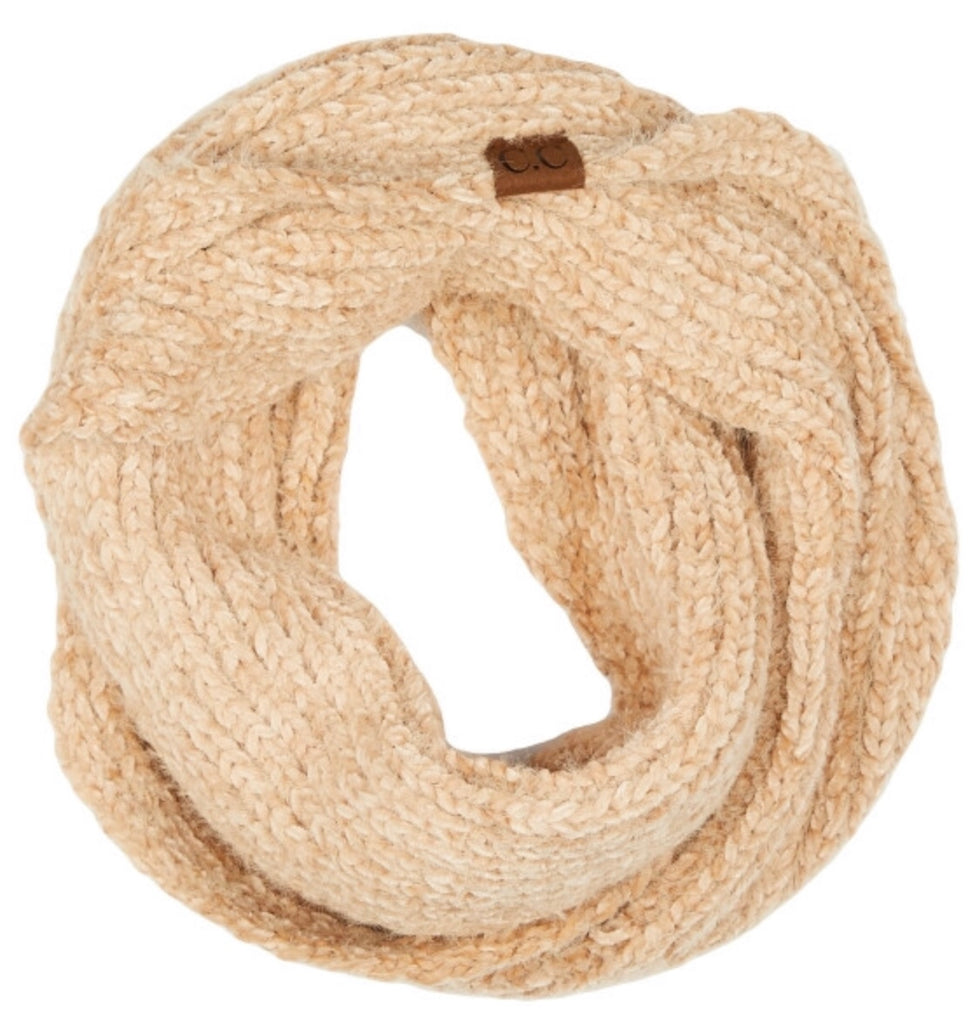 Taupe chenille CC scarf infinity