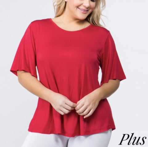 Red knit bell sleeve pullover plus