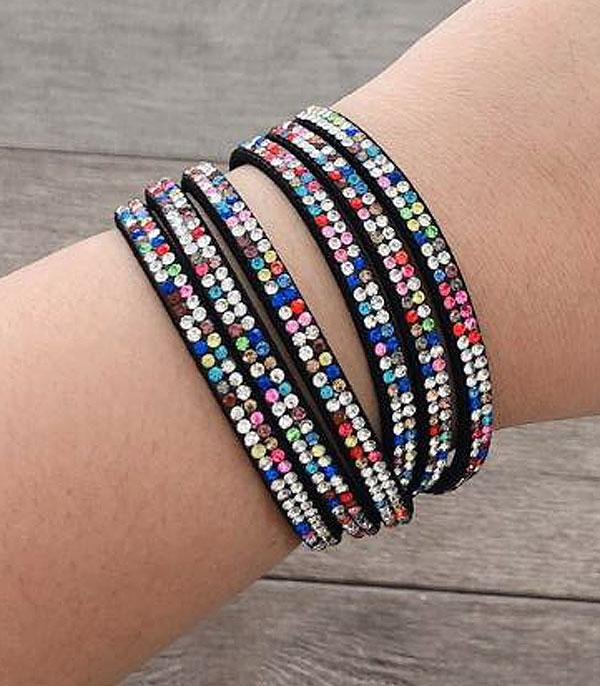 Multi stone Bling Wrap-Around Bracelet