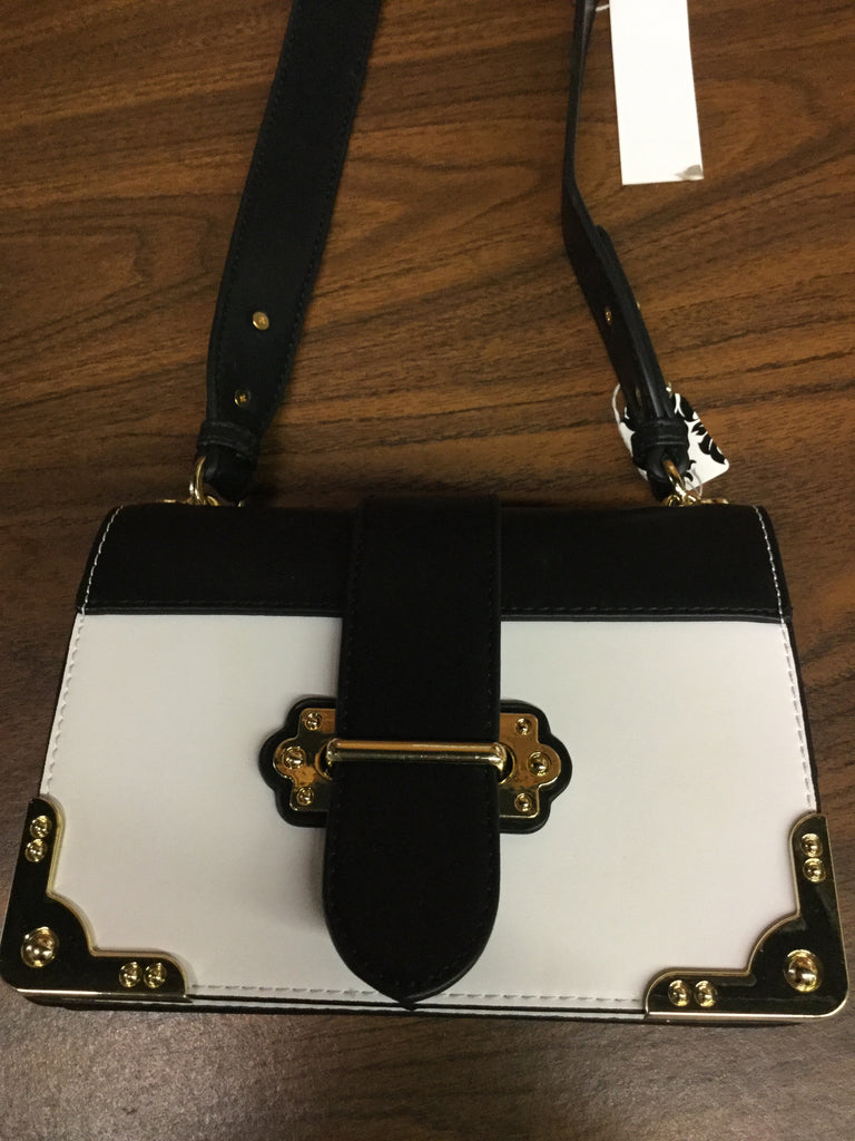 Black white 2 tone crossbody bag