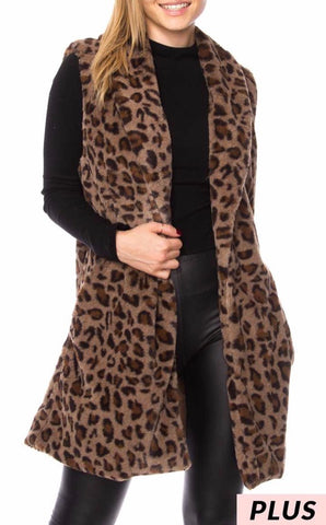 Leopard vest with pockets PLUS