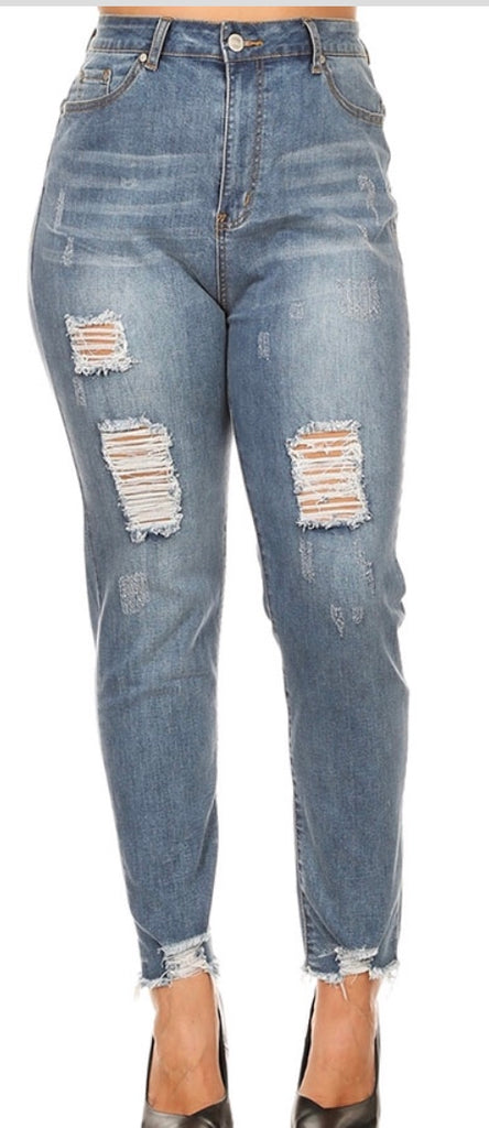 Mid denim washed plus size jean