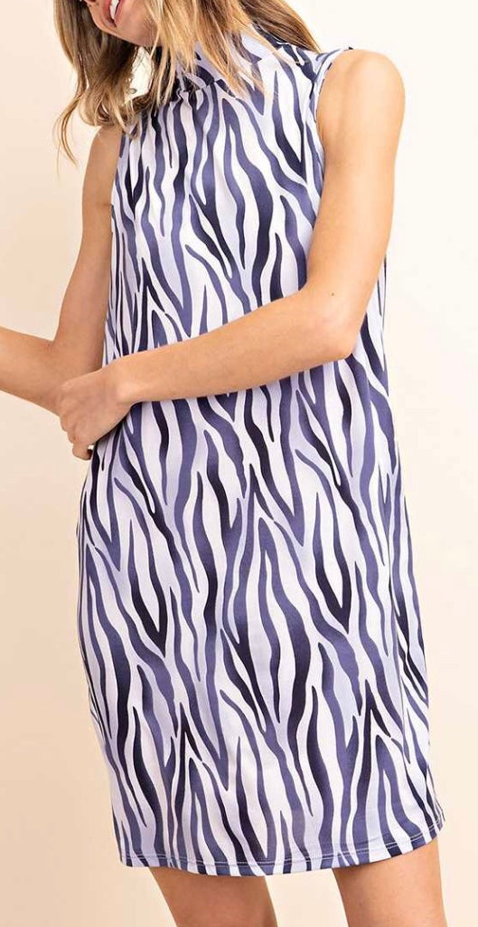 Blue zebra print mock neck dress