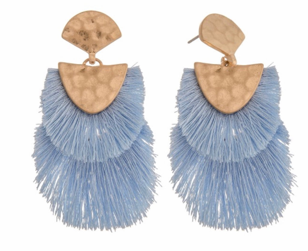Periwinkle fringe earrings