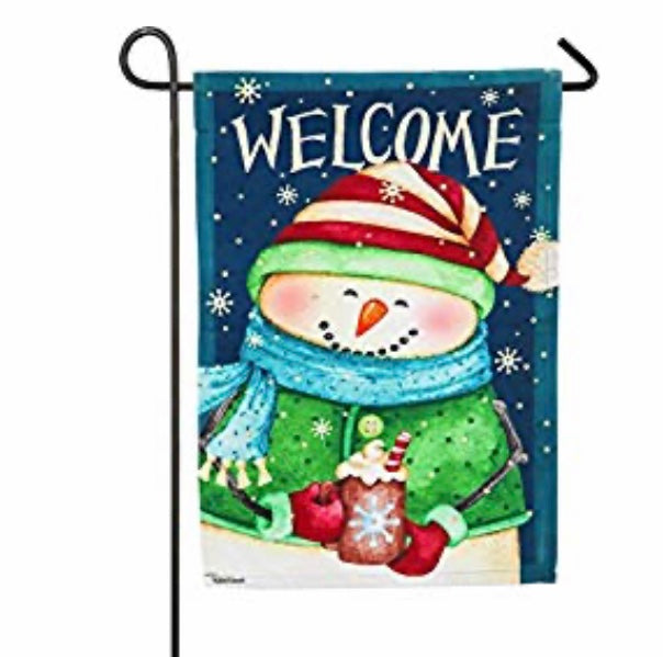Snowman  Country Suede Garden Flag