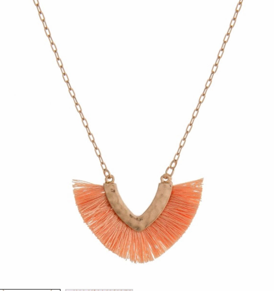 Peach V fringe necklace