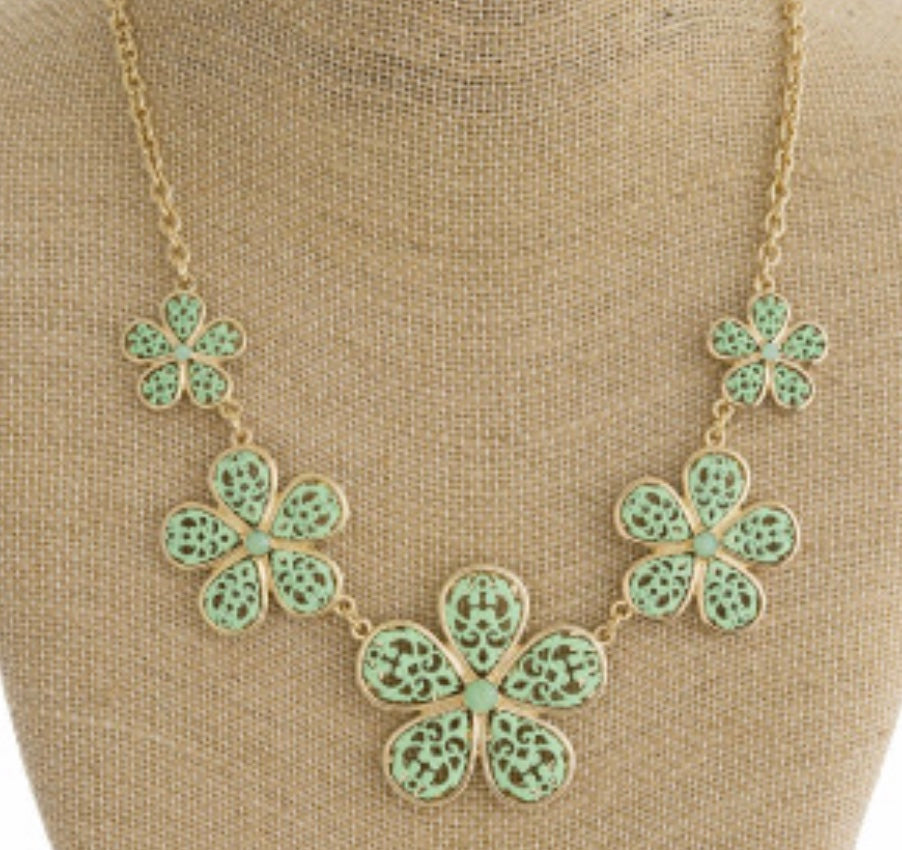 Mint filigree flower necklace