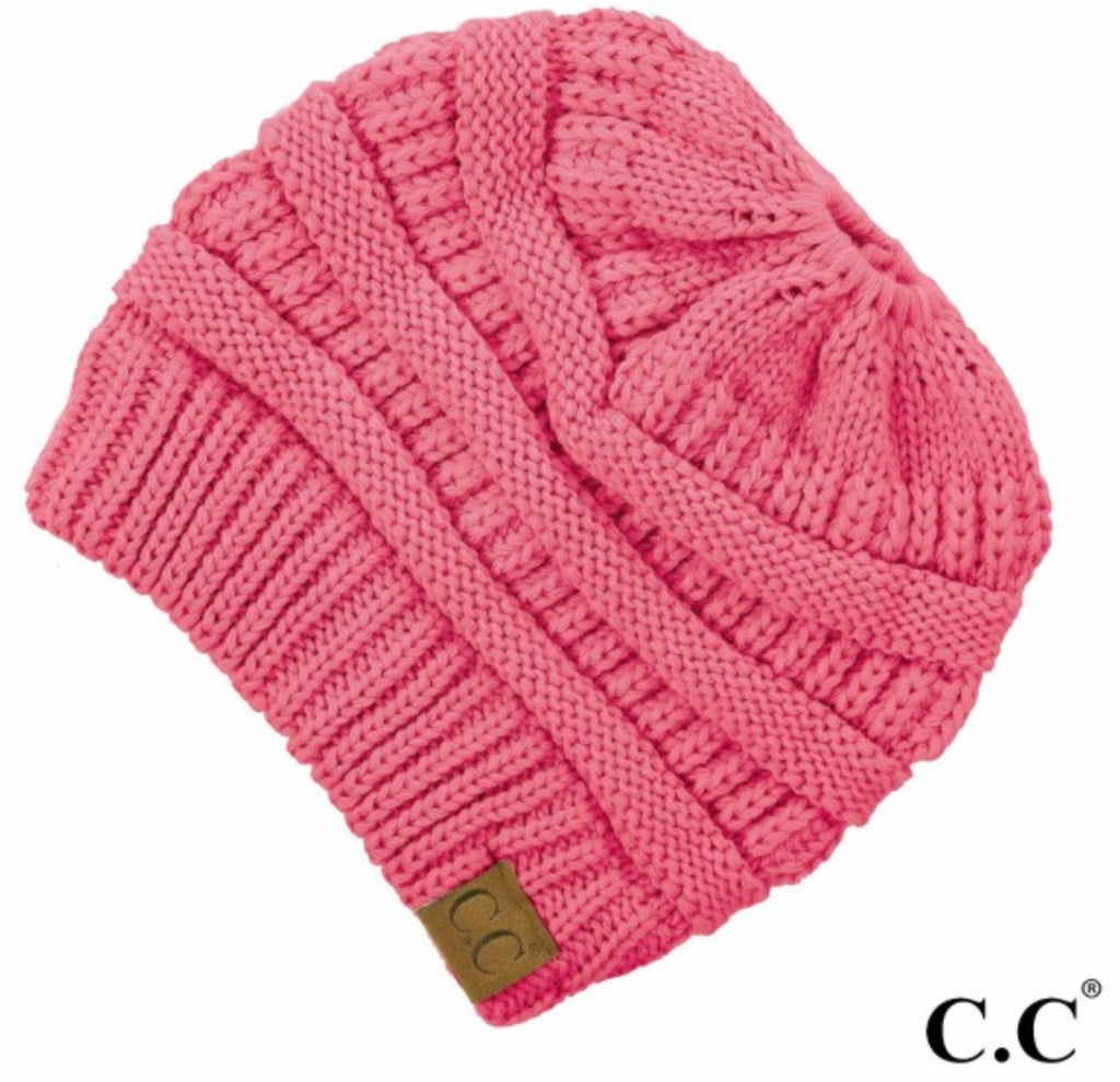 New Candy Pink CC beanie messy bun