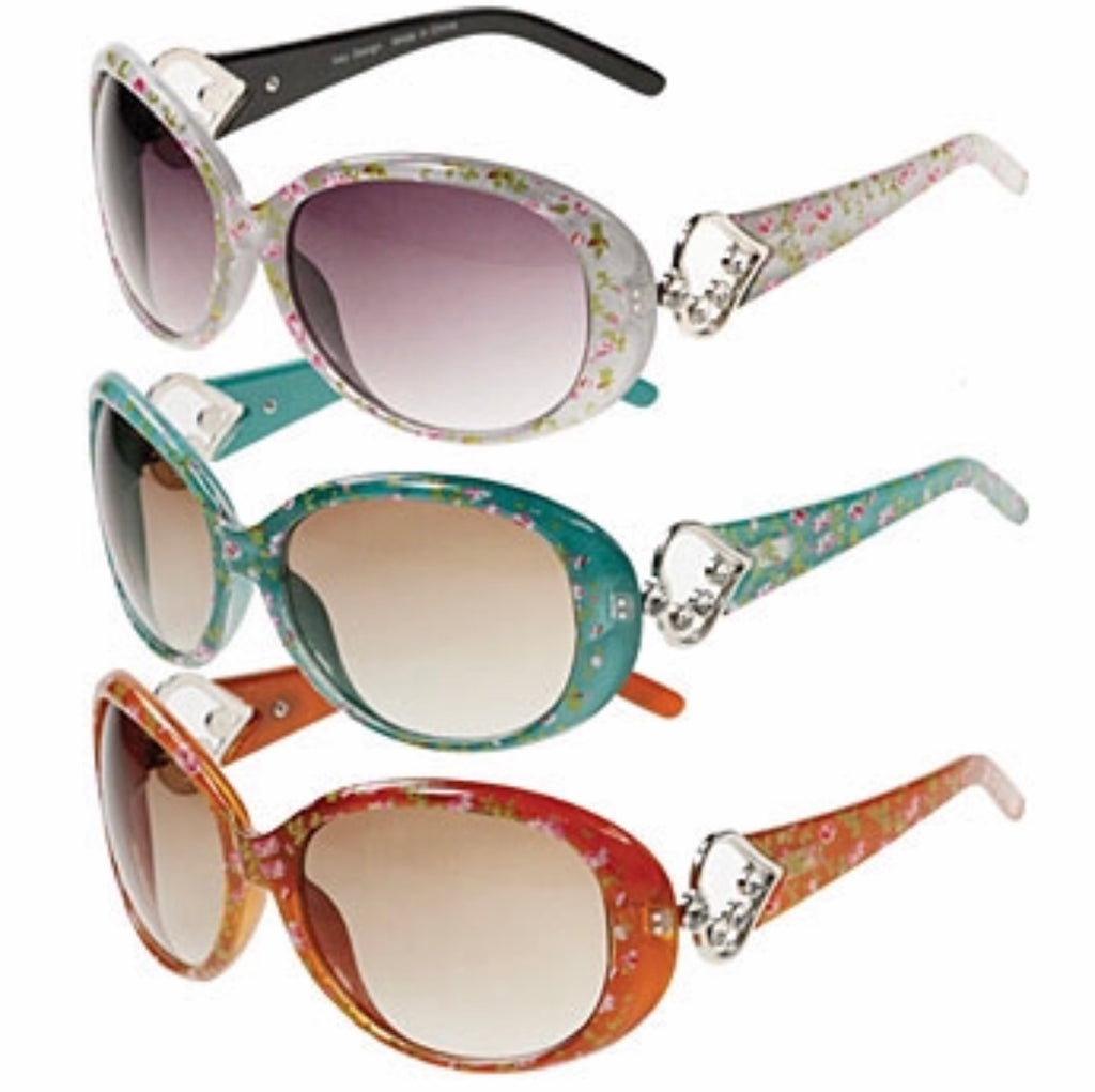 Multi color heart accent floral print sunglass