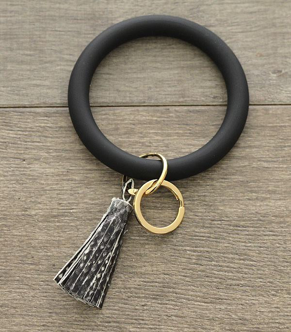 Black Snake Skin Tassel Bangle Keychain