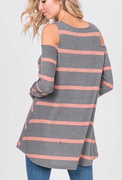 Gray mauve fleece stripe cold shoulder top
