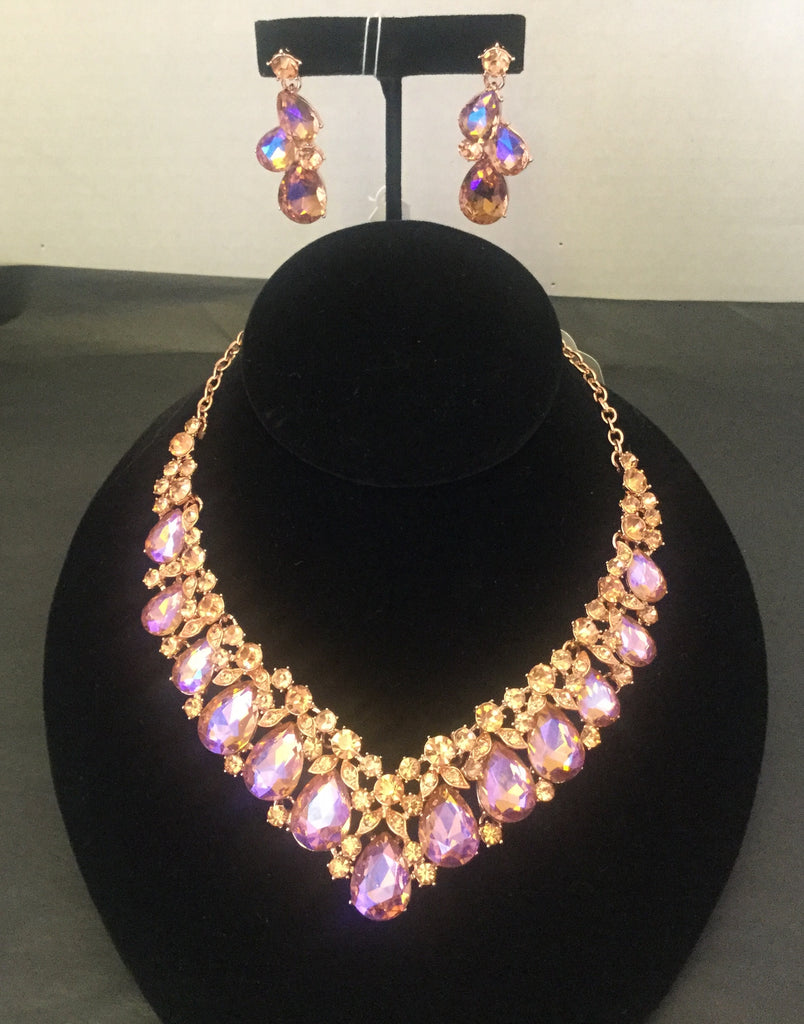 Rose gold tear drop shape rhinestone short necklace set