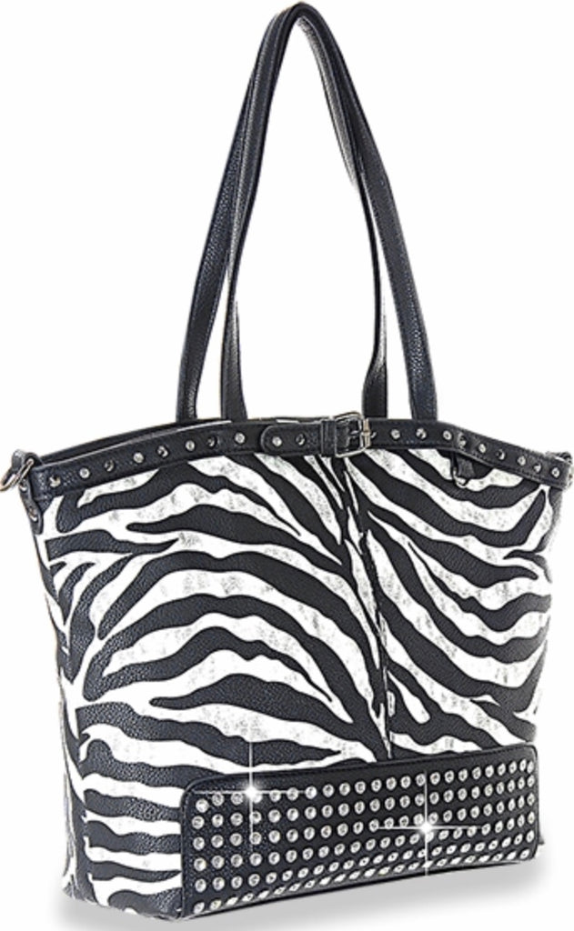 Zebra stripe studded handbag