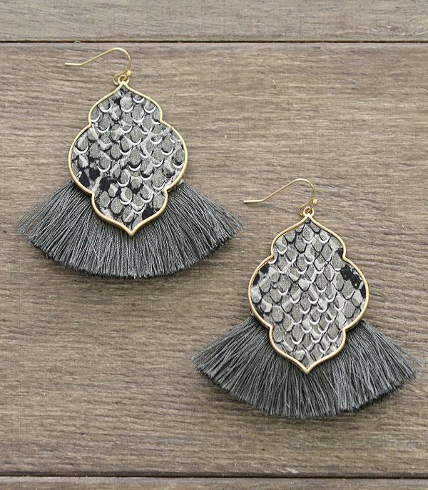 Gray Snake Print Tassel Earrings