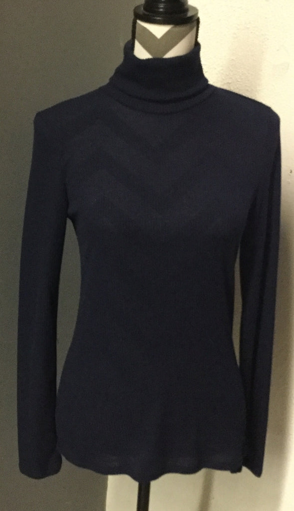 Navy turtleneck ribbed sweater
