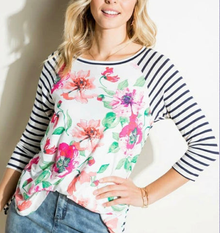 Floral And Stripe Mix 3/4 Sleeve Top PLUS 3XL LEFT ONLY
