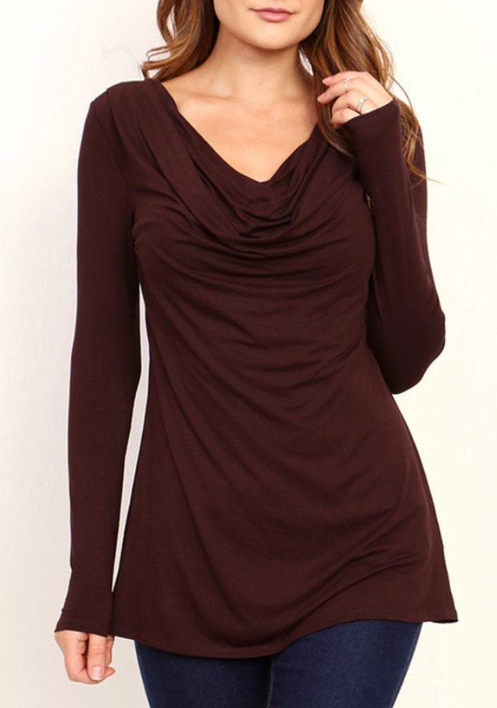 Brown swoop neck top