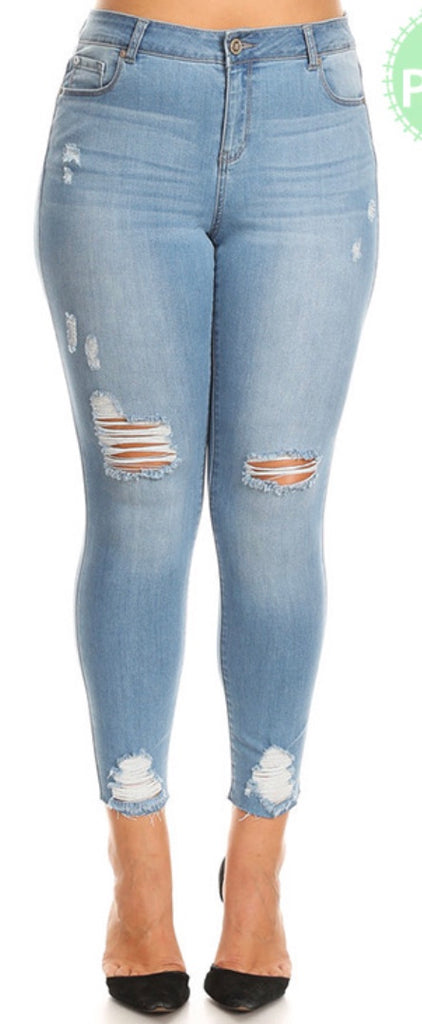 Lite blue high rise distressed plus jeans