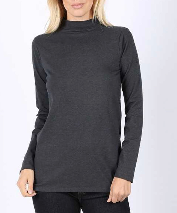 Charcoal Long Sleeve Mock Neck Top PLUS