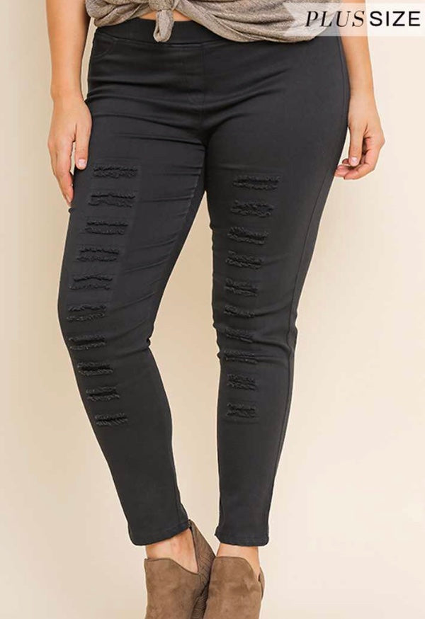 43c1ccb5bd9446 Umgee distressed look jeggings black or cream Plus – Morties Boutique