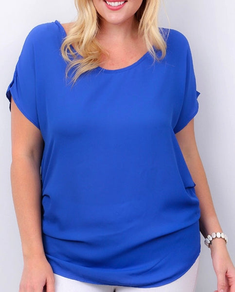 Royal blue ruched side plus top