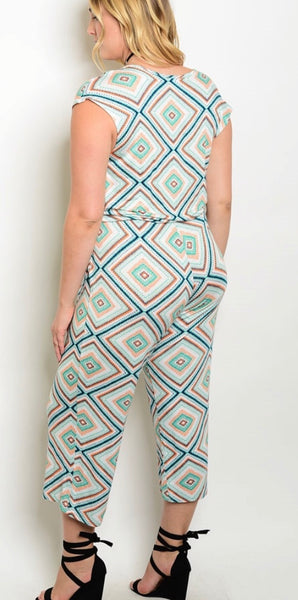 Jade orange blue Capri jumpsuit PLUS