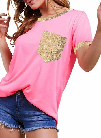 Neon pink sequin pocket top