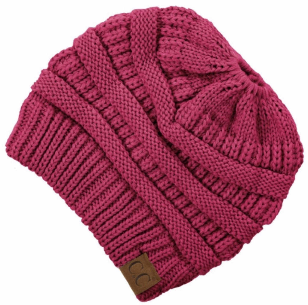 Hot Pink CC beanie messy bun
