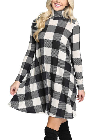 Black buffalo plaid swing dress