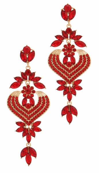 Red crystal rhinestone drop earring
