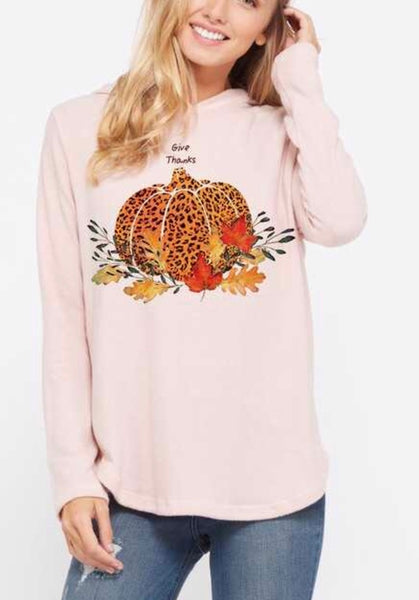 Pink Leopard GIVE THANKS Hoodie Top