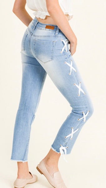 Blue washed denim laceup jean