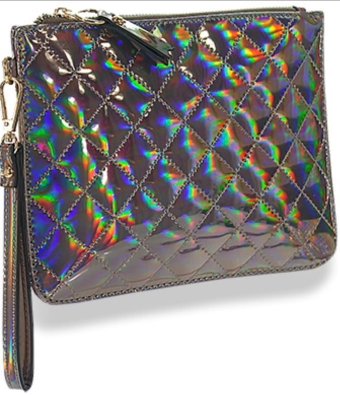 Black iridescent quilted clutch