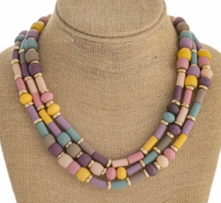 Pink multi trio layer necklace