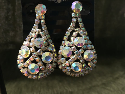 AB crystal teardop design 2' drop earrings