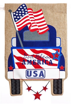 Patriotic Pick-Up Truck Garden Burlap Flag