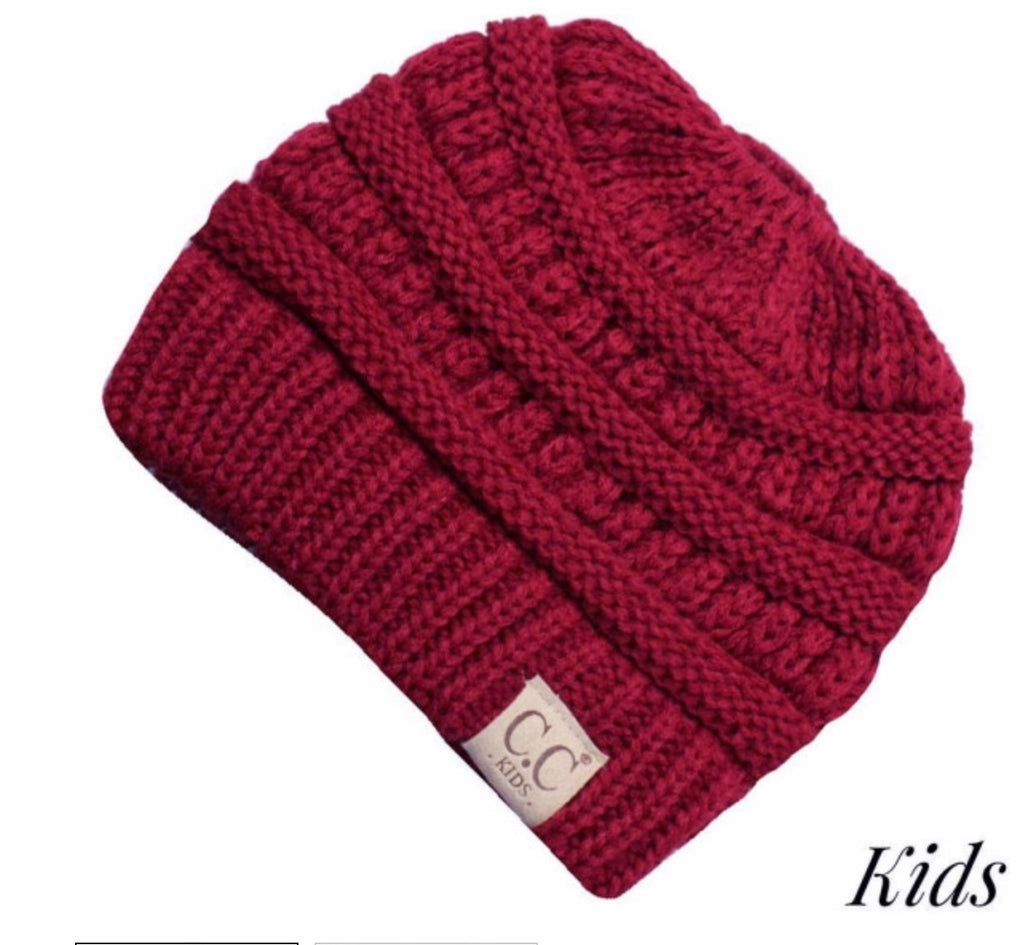 Red kids CC beanie messy bun