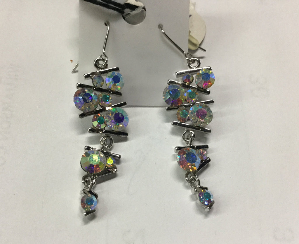 Silver bar AB stone Earrings