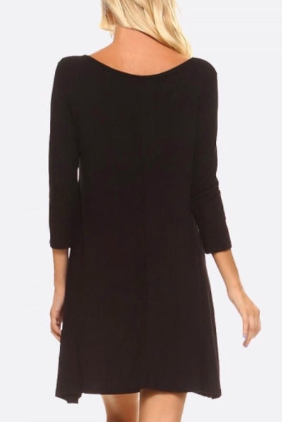 Black cross strap 3/4 sleeve swing dress