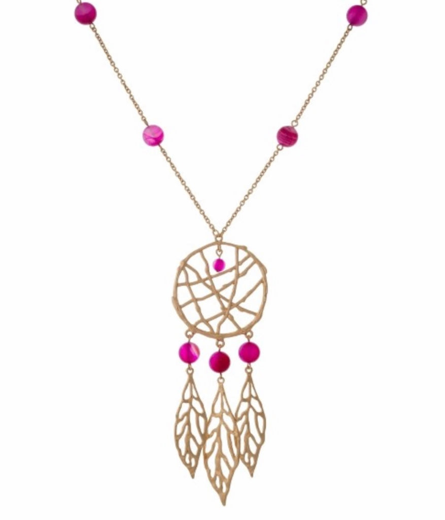 Fuchsia dream catcher necklace