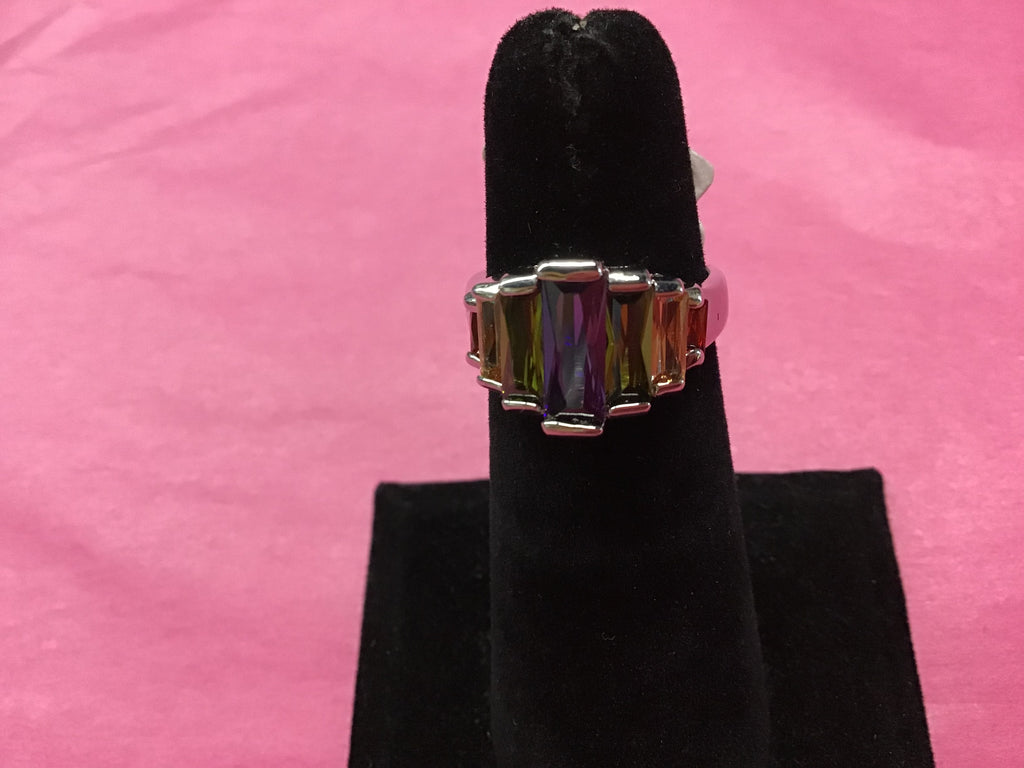 Silver Ring with multi bar stones size 6